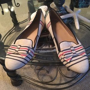 J. Crew Linen Striped Bow Loafers Flat Shoes 5.5